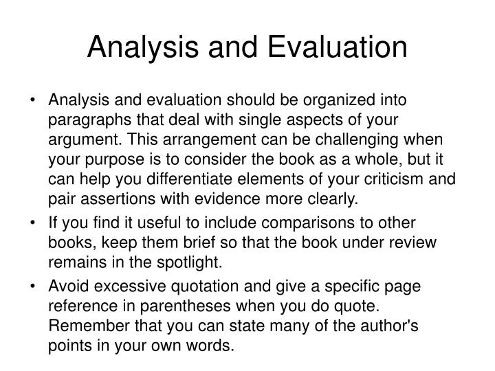 Analysis and Evaluation