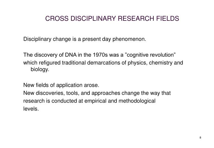 CROSS DISCIPLINARY RESEARCH FIELDS