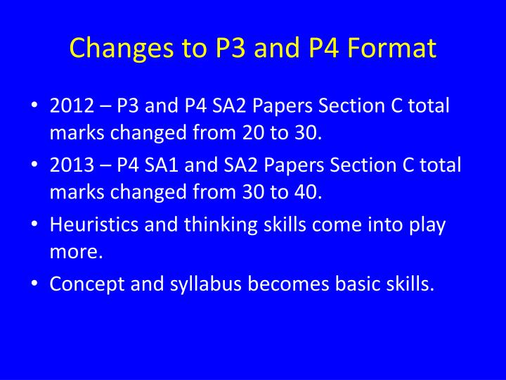 Changes to P3 and P4 Format
