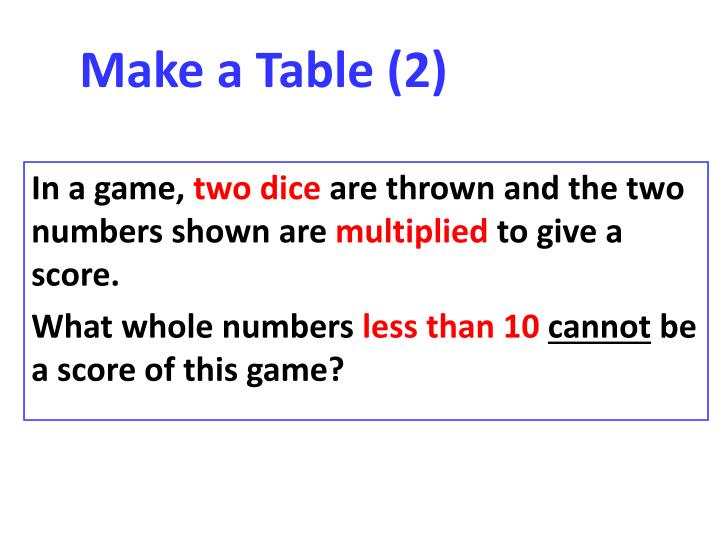 Make a Table (2)