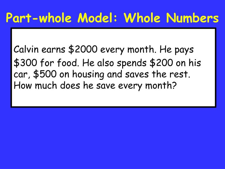 Part-whole Model: Whole Numbers