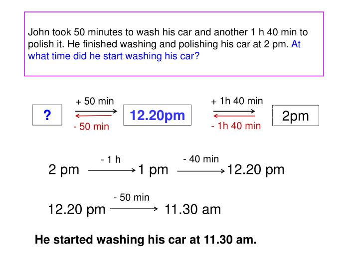 John took 50 minutes to wash his car and another 1 h 40 min to polish it. He finished washing and polishing his car at 2 pm.