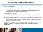 lessons from the canadian experience