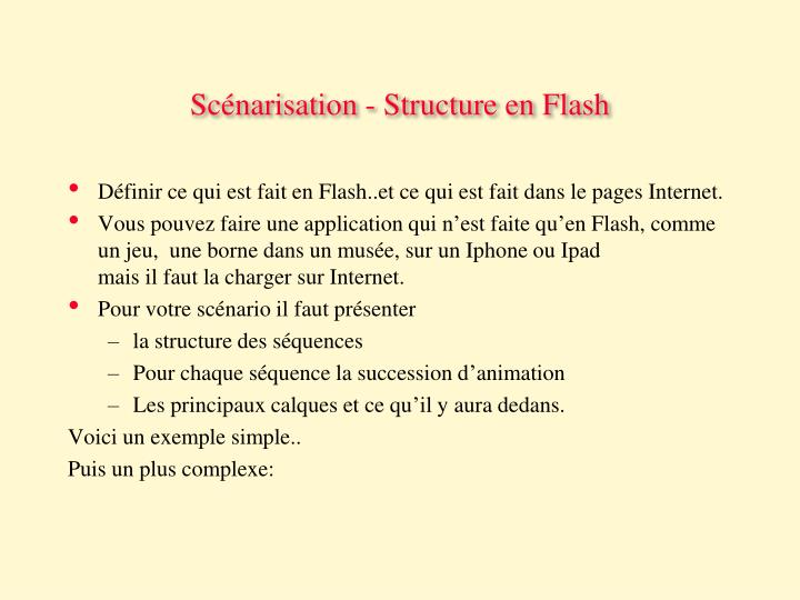 Scénarisation - Structure en Flash