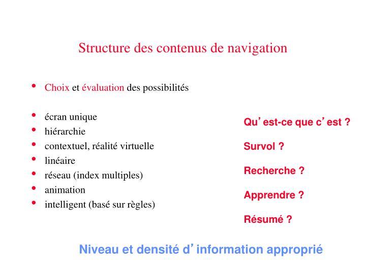 Structure des contenus de navigation