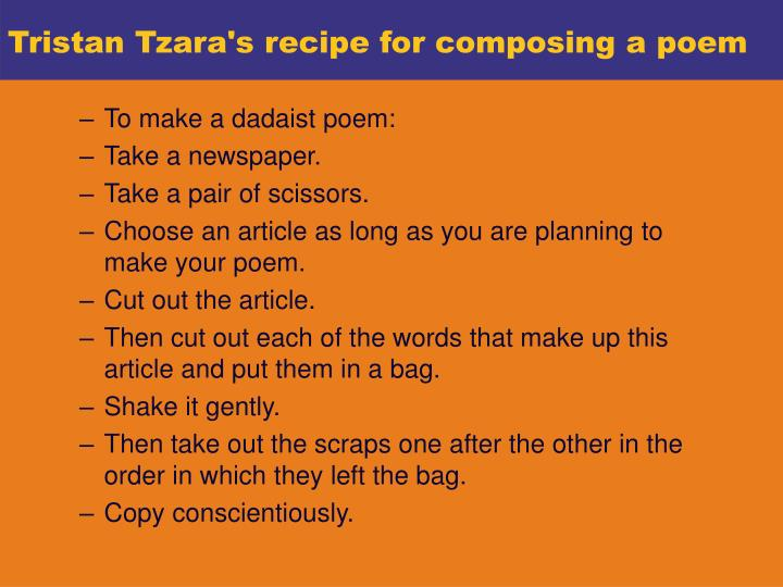Tristan Tzara's recipe for composing a poem