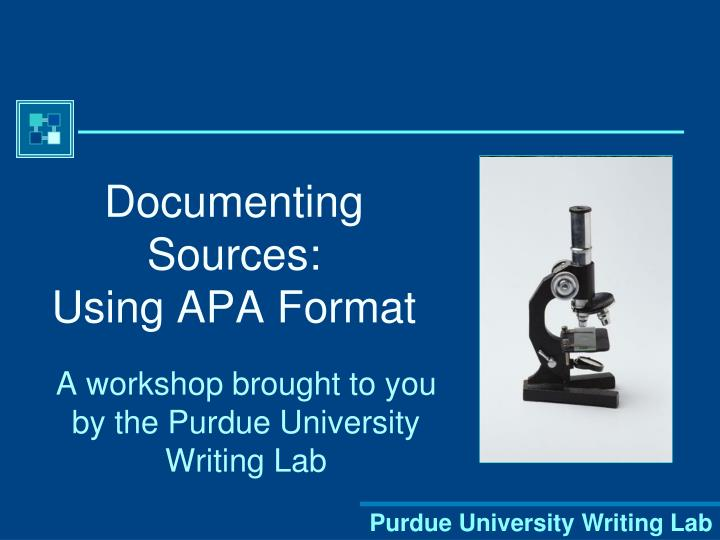 Documenting sources using apa format