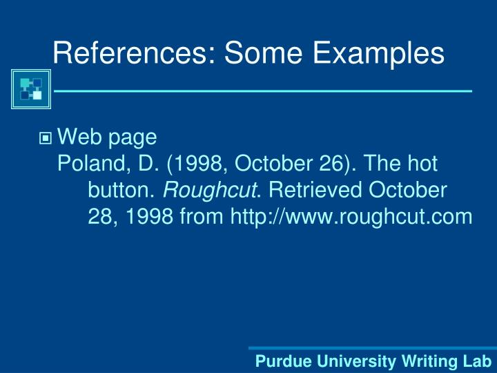 References: Some Examples