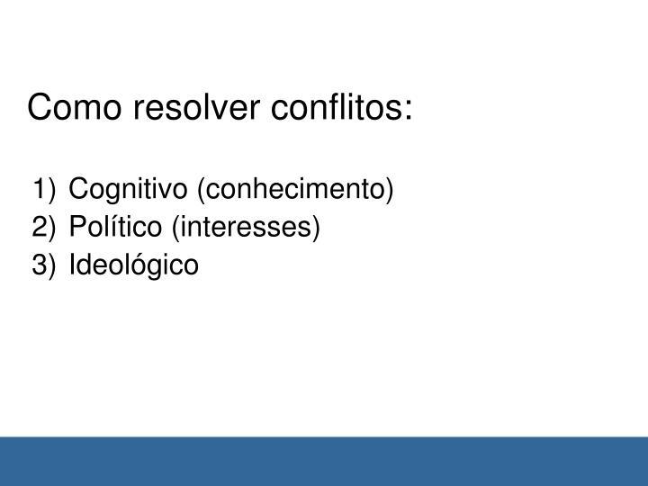 Como resolver conflitos: