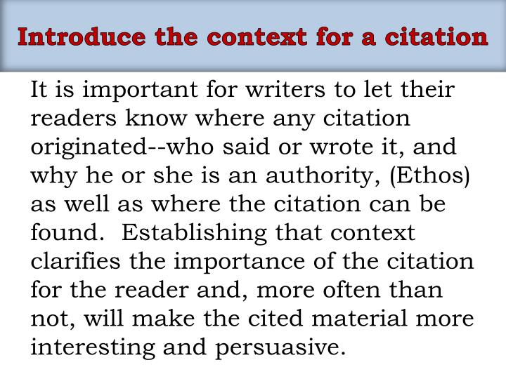 Introduce the context for a citation
