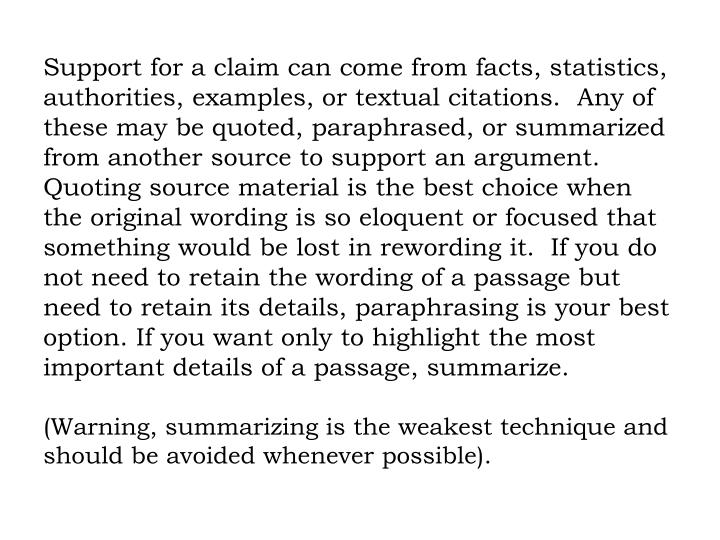 Support for a claim can come from facts, statistics, authorities, examples, or textual citations.  Any of these may be quoted, paraphrased, or summarized