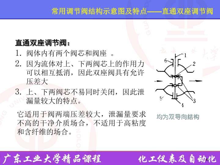 常用调节阀结构示意图及特点