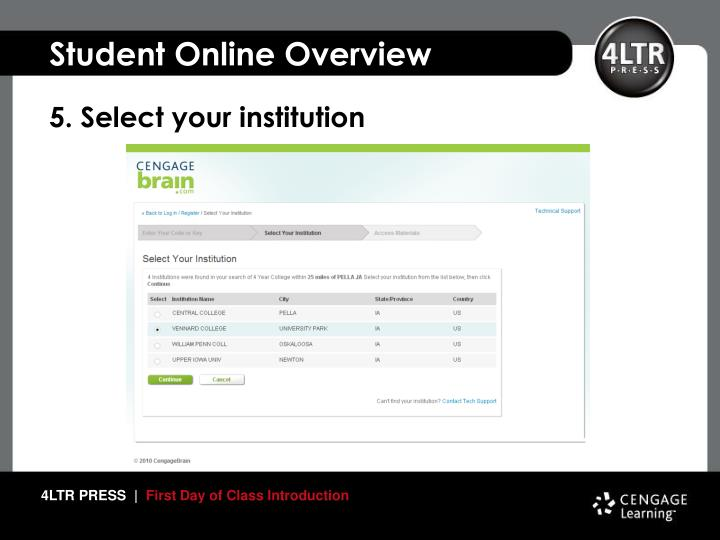 5. Select your institution