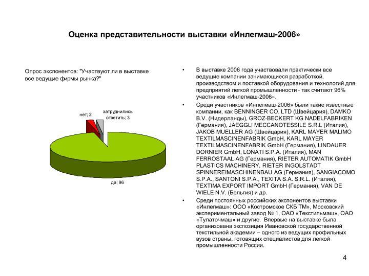 Оценка представительности выставки «Инлегмаш-2006»