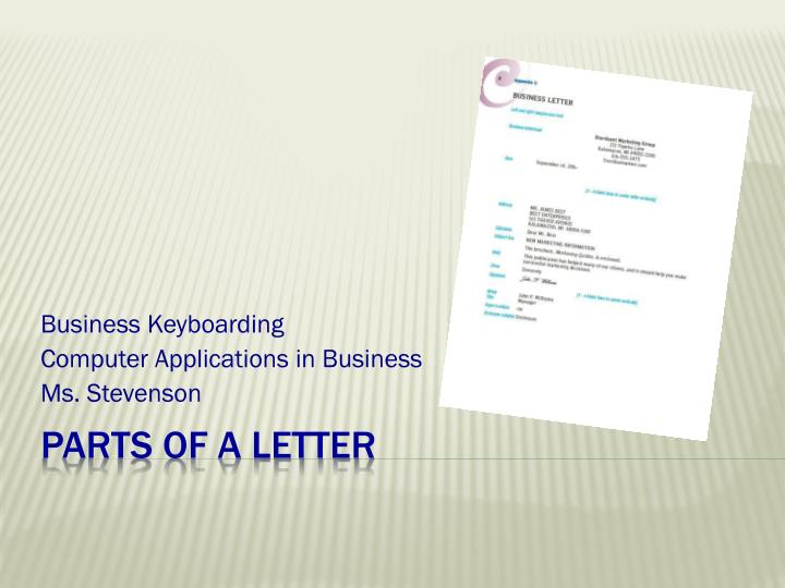 Business keyboarding computer applications in business ms stevenson