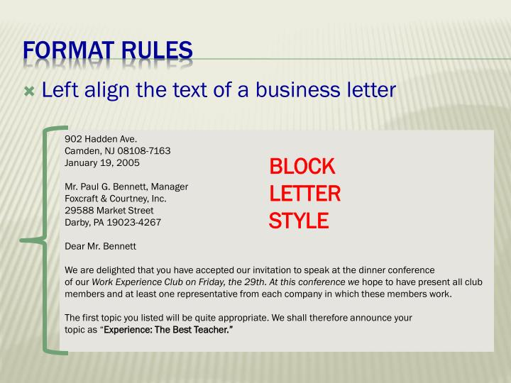 Left align the text of a business letter