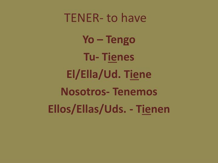 TENER- to have