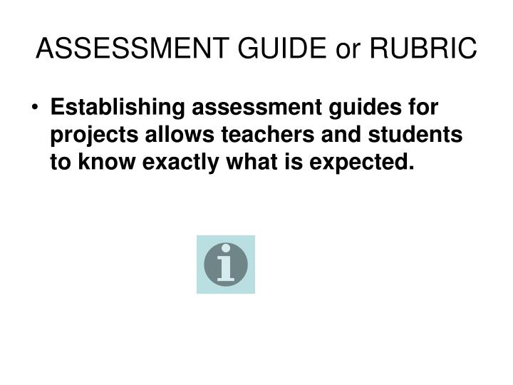 ASSESSMENT GUIDE or RUBRIC