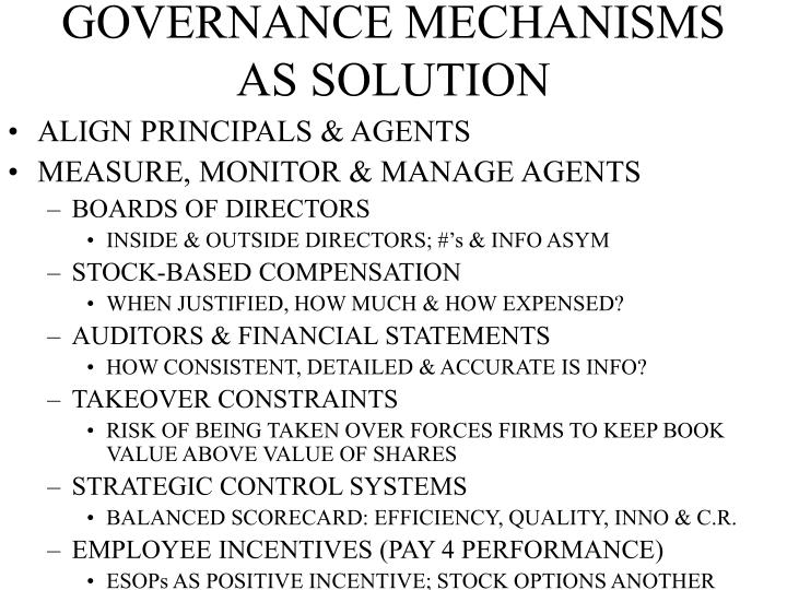 GOVERNANCE MECHANISMS     AS SOLUTION