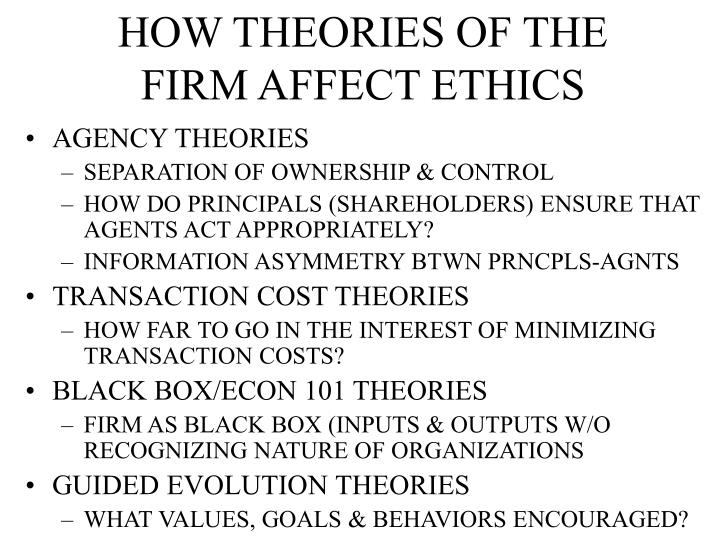 HOW THEORIES OF THE FIRM AFFECT ETHICS