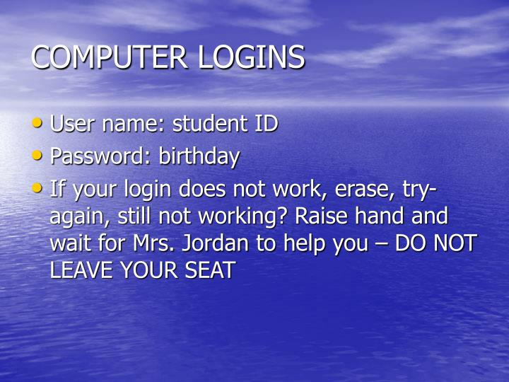 COMPUTER LOGINS