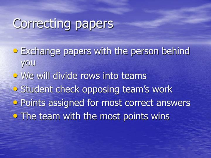 Correcting papers