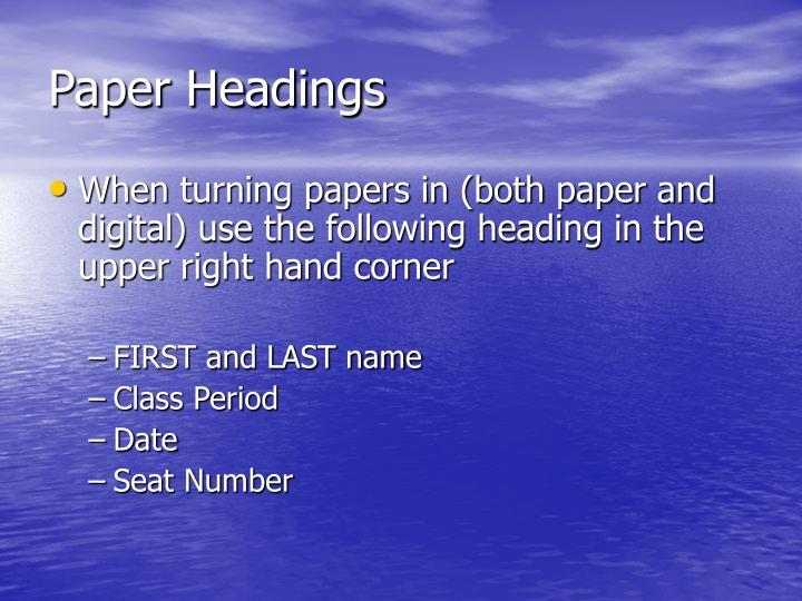 Paper Headings