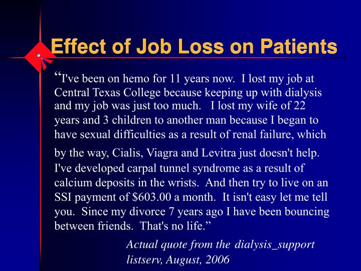 Effect of Job Loss on Patients