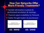 how can networks offer work friendly treatments