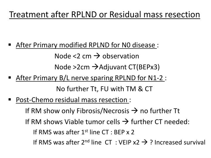 Treatment after RPLND or Residual mass resection