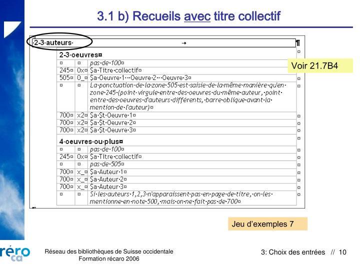 3.1 b) Recueils