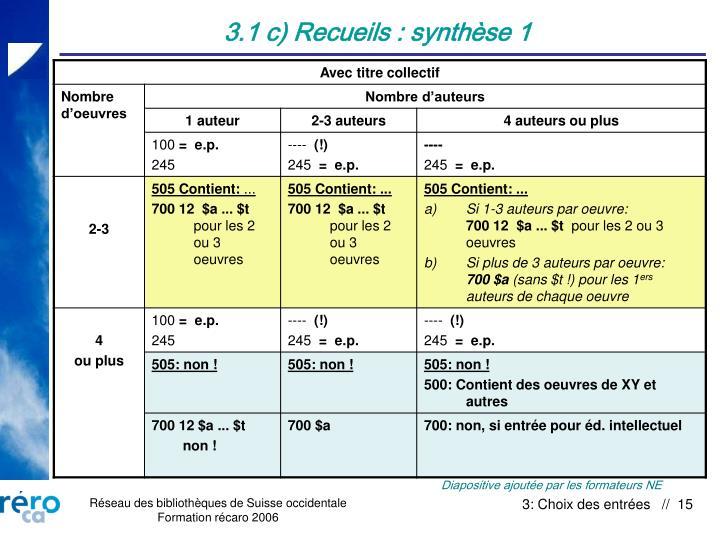 3.1 c) Recueils : synthèse 1