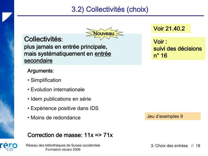 3.2) Collectivités (choix)