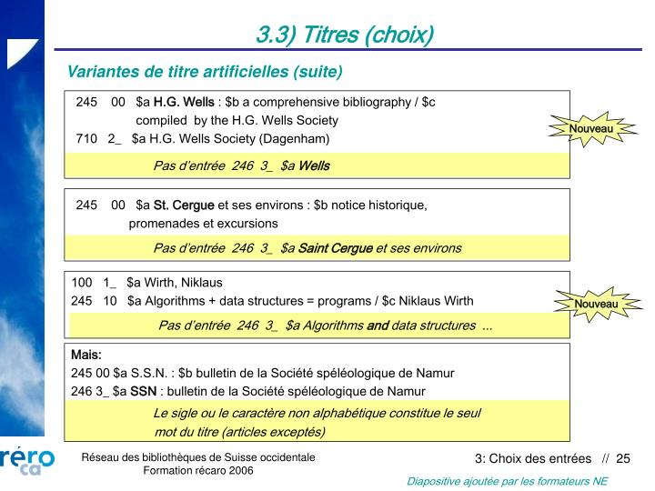 3.3) Titres (choix)