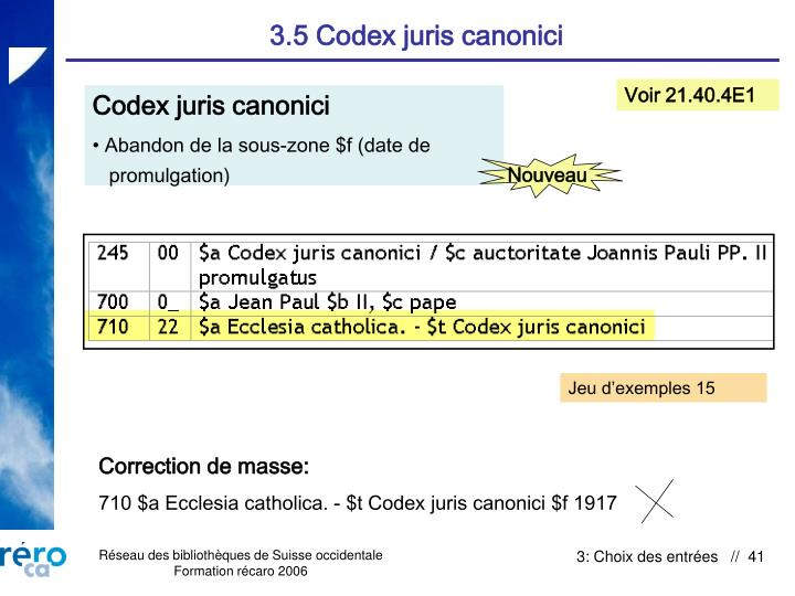 3.5 Codex juris canonici