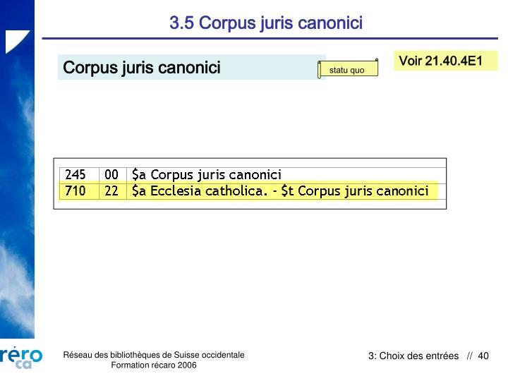 3.5 Corpus juris canonici