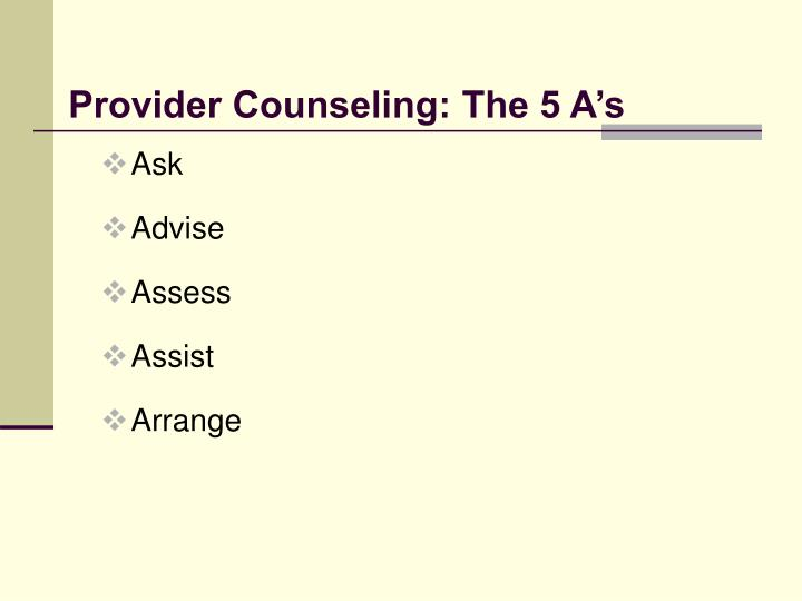 Provider Counseling: The 5 A's
