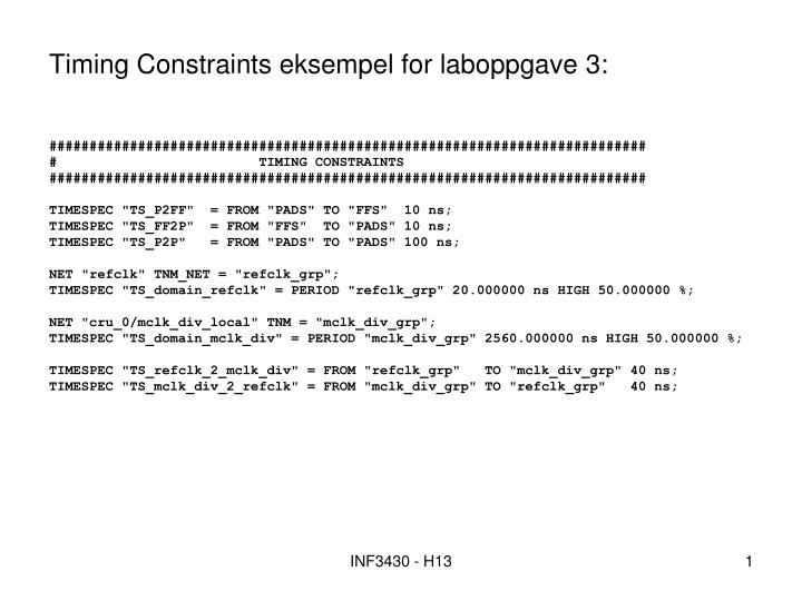 Timing constraints eksempel for laboppgave 3
