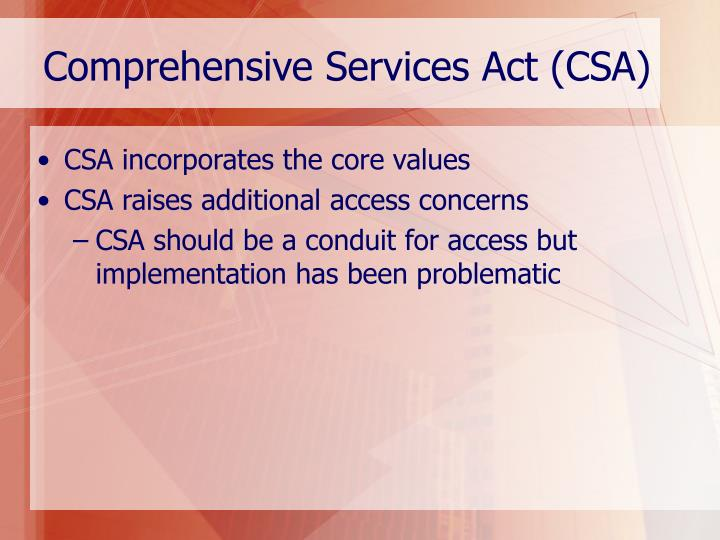 Comprehensive Services Act (CSA)