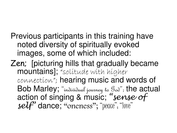 Previous participants in this training have noted diversity of spiritually evoked  images, some of which included: