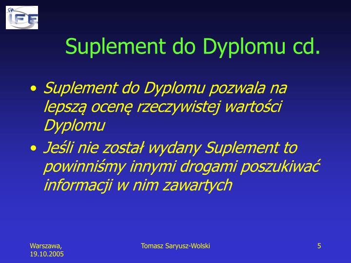 Suplement do Dyplomu cd.