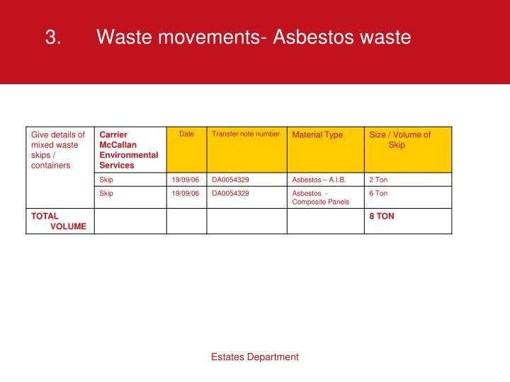 3.Waste movements- Asbestos waste
