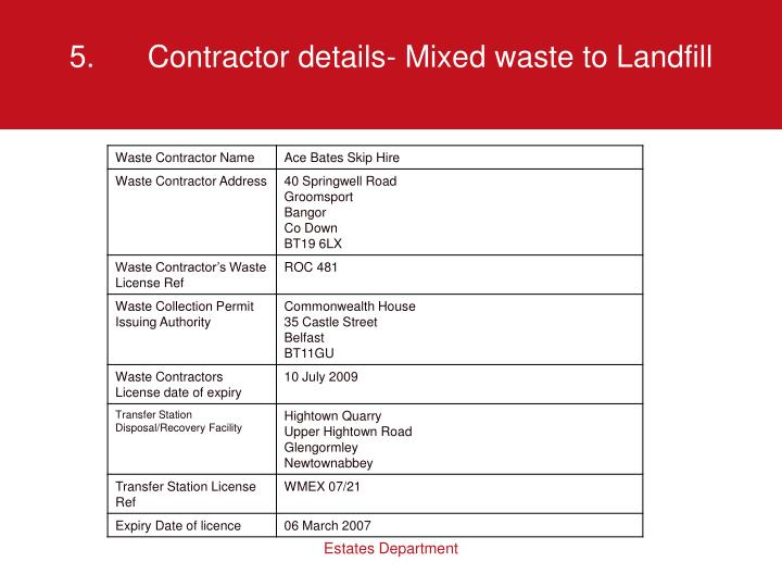 5.Contractor details- Mixed waste to Landfill
