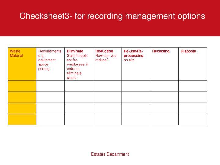 Checksheet3- for recording management options