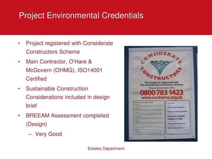 Project Environmental Credentials