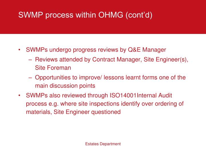 SWMP process within OHMG (cont'd)