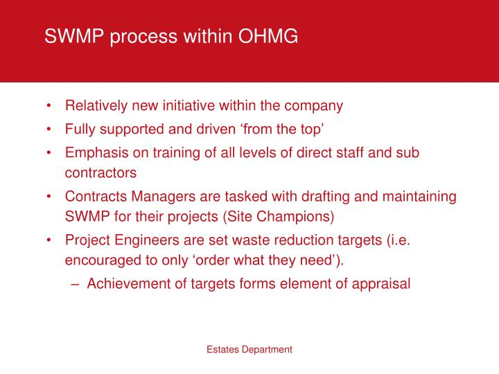 SWMP process within OHMG