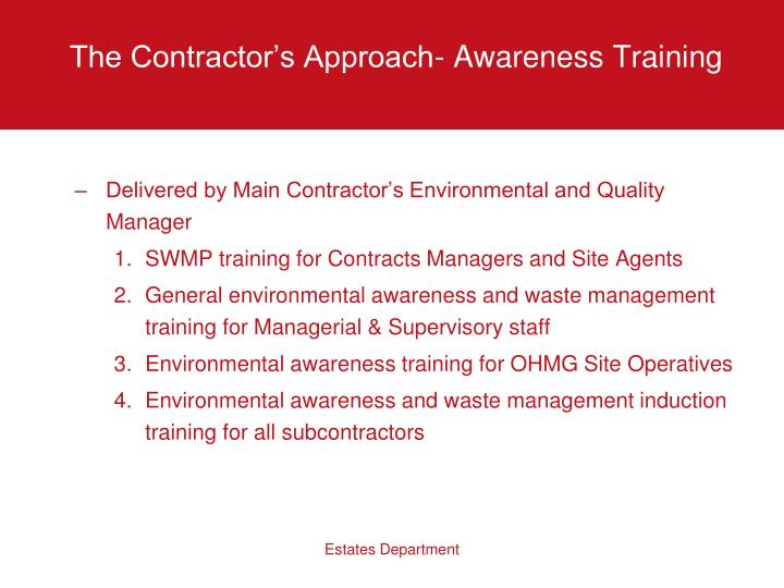 The Contractor's Approach- Awareness Training