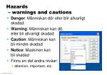hazards warnings and cautions