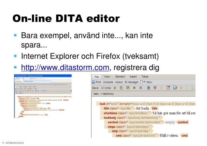 On-line DITA editor
